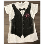 Justin Beiber Ladies Tee: Tux All Over (Ex Tour)
