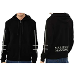 Marilyn Manson Men's Zipped Hoodie: Cross Logo (Ex Tour/Back Print)