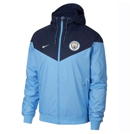 2018-2019 Man City Nike Authentic Windrunner Jacket (Blue)
