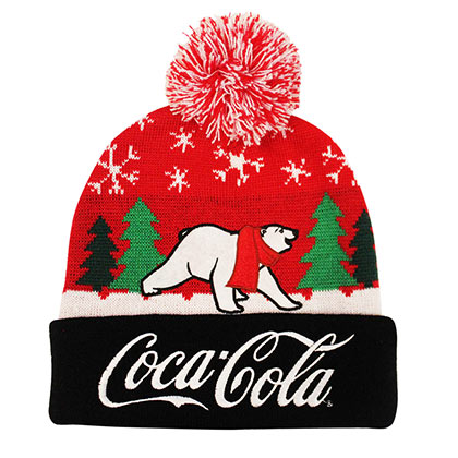 Coca Cola Polar Bear Red and Black Winter Hat