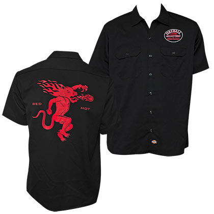 FIREBALL WHISKEY Red Hot Black Work Shirt
