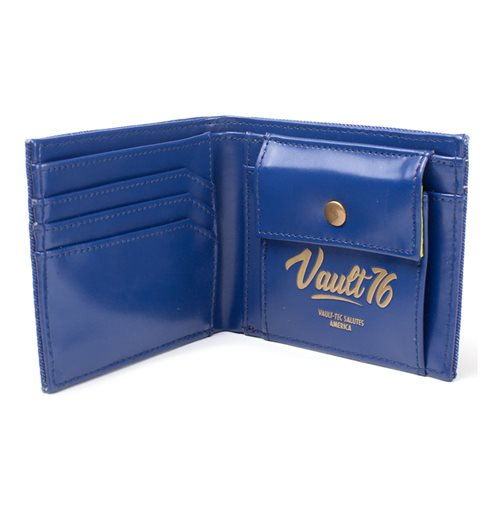 FALLOUT 76 Embroidered Vault 76 Vintage Denim Bi-Fold Wallet, Male, One Size, Blue