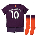 2018-2019 Man City Third Nike Little Boys Mini Kit (Kun Aguero 10)