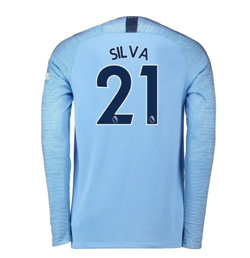 0517cb537 Buy 2018-2019 Man City Home Nike Long Sleeve Shirt (Silva 21)