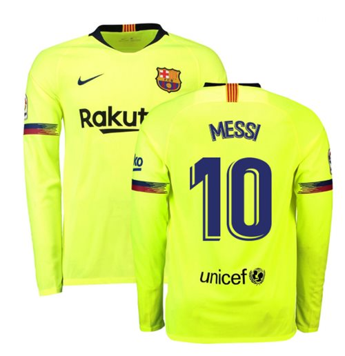 2018-2019 Barcelona Away Nike Long Sleeve Shirt (Messi 10)