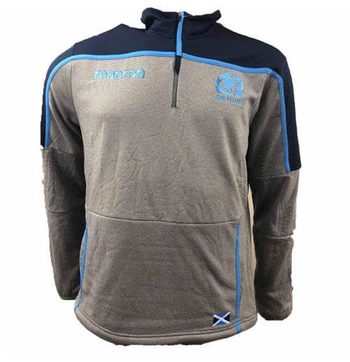 2018-2019 Scotland Macron Rugby Half Zip Polar Fleece (Grey) - Kids