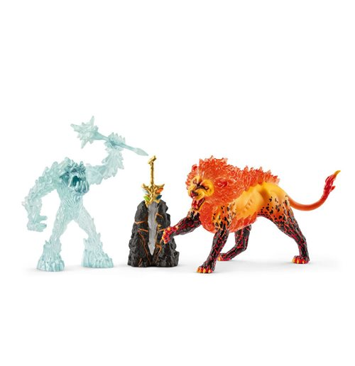 SCHLEICH Eldrador Battle for the Superweapon Frost Monster vs. Fire Lion Toy Figures