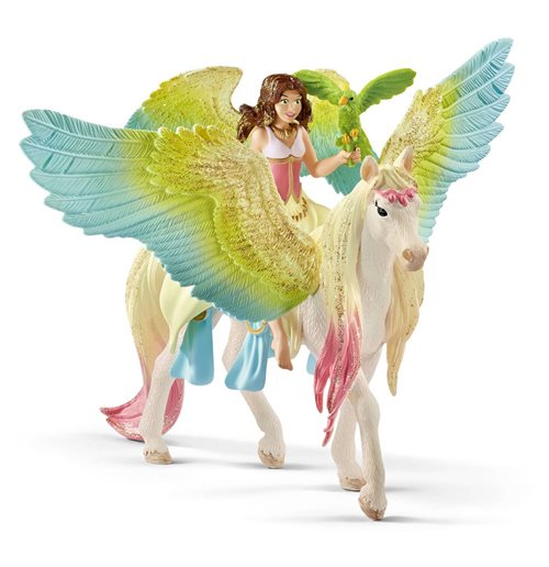 SCHLEICH Bayala Fairy Surah with Glitter Pegasus Toy Figure