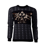The Legend of Zelda Ladies Knitted Christmas Sweater Tri-Force Glitter