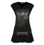 Steam Punk Ripped - Stud Waist Mini Dress Black
