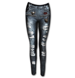 Torn Denim Ao - Allover Comfy Fit Leggings Black
