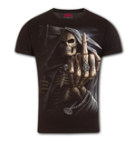 Bone Finger - T-Shirt Modern Cut Turnup Sleeve Black