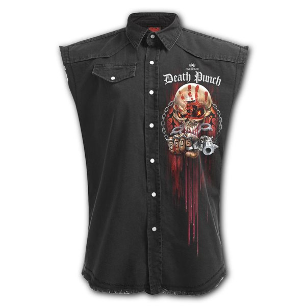 5fdp - Assassin - Sleeveless Stone Washed Worker Black