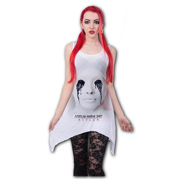 Asylum - White Nun - Goth Bottom Vest Dress White