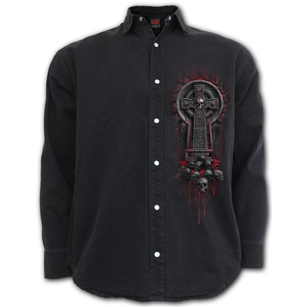 Bleeding Souls - Longsleeve Stone Washed Worker Black