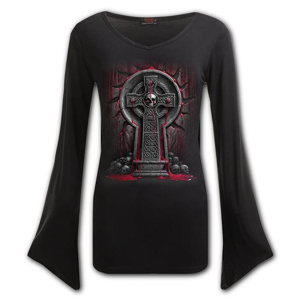 Bleeding Souls - V Neck Goth Sleeve Top Black
