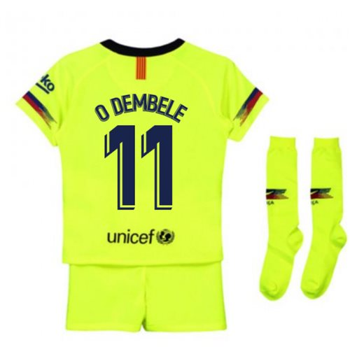 2018-2019 Barcelona Away Nike Little Boys Mini Kit (O Dembele 11)