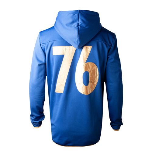 FALLOUT 76 Vault 76 TeQ Full Length Zipped Premium Hoodie, Male, Small, Blue/Yellow