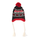 MARVEL COMICS Deadpool Xmas Laplander Beanie with Pom-pom and Braided Cords, Unisex, Multi-colour