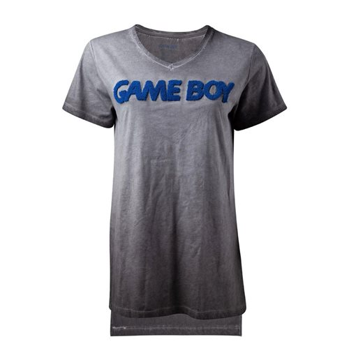 NINTENDO Gameboy 3D Logo Oil Washed T-Shirt, Female, Small, Grey