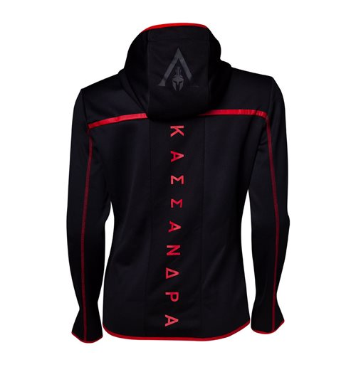 ASSASSIN'S CREED Odyssey Technical Dark Full Length Zipper Hoodie, Female, Extra Large, Black/Red