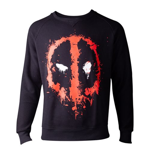 MARVEL COMICS Deadpool Dripping Mask Sweater, Male, Medium, Black