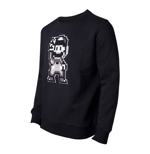 NINTENDO Super Mario Bros. Chenille 16-bit Mario Peace Sweater, Male, Extra Large, Black