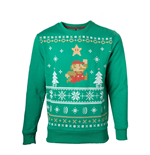 NINTENDO Super Mario Bros. Running Mario Christmas Sweater, Male, Extra Extra Large, Green