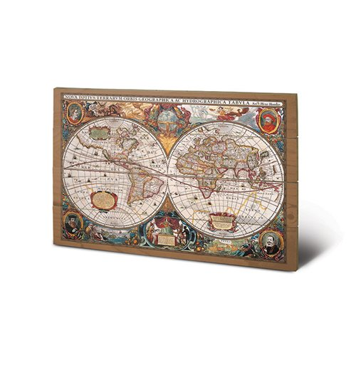 World map Print on wood 323289