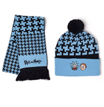 RICK AND MORTY Beanie and Scarf Gift Set, Unisex, One Size, Blue/Black