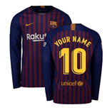 2018-2019 Barcelona Home Nike Long Sleeve Shirt (Your Name)