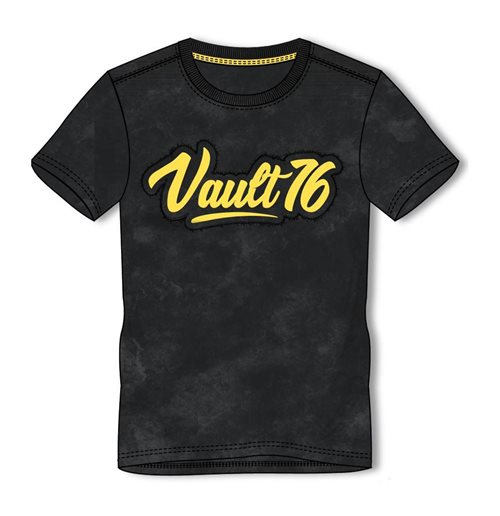 FALLOUT 76 Vault 76 Logo Oil Washed T-Shirt, Male, Medium, Black