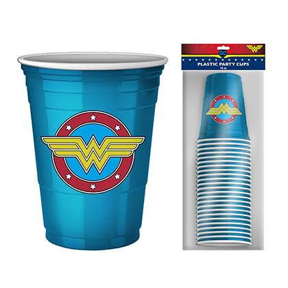 WONDER WOMAN 20 Pack Disposable Blue Cups