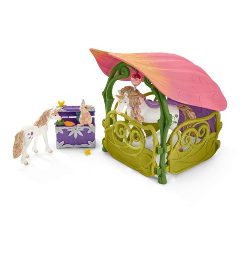 SCHLEICH Bayala Glittering Flower House with Unicorns, Lake and Stable