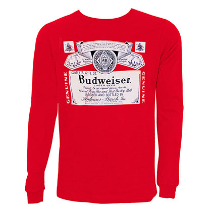 BUDWEISER Label Long Sleeve Red Tee Shirt