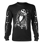 The Nightmare Before Christmas T-Shirt Jack Crossed Arms Sleeve (BLACK)