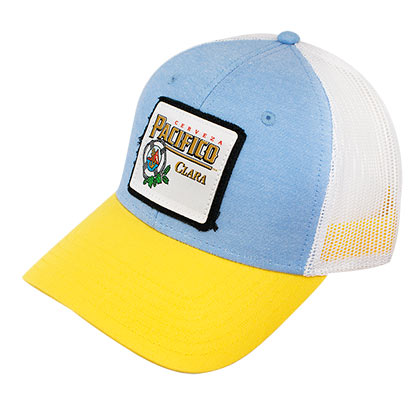PACIFICO Flat Bill Yellow And Blue Snapback Hat