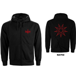 Slipknot Unisex Zipped Hoodie: 9 Point Star (Back Print)