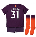 2018-2019 Man City Third Nike Little Boys Mini Kit (Ederson 31)
