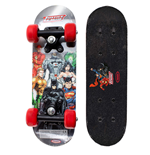 DC COMICS Justice league Kid's 17-Inch Maple Wood Mini Skateboard Cruiser, Black/Red