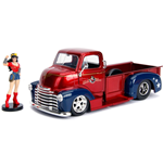 DC Bombshells Diecast Model Hollywood Rides 1/24 1952 Checy COE with Wonder Woman Figure