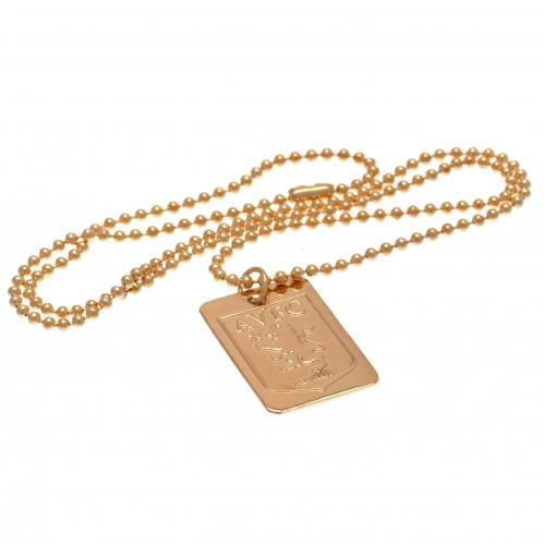 Aston Villa F.C. Gold Plated Dog Tag & Chain