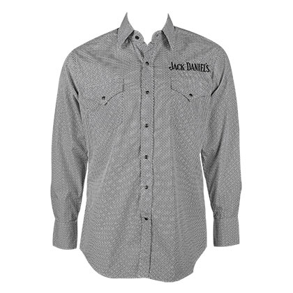 JACK DANIELS Geo Print Long Sleeve Gray Button Up Shirt