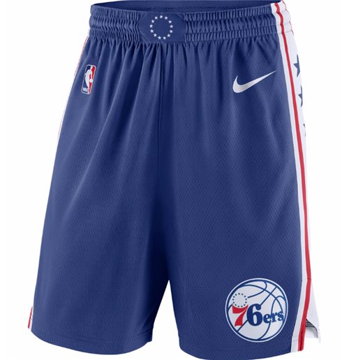 Men's Philadelphia 76ers Nike Blue Icon Swingman Shorts