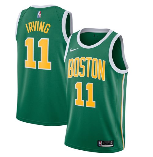 Men's Boston Celtics Kyrie Irving Nike Green Earned Edition Swingman Jersey