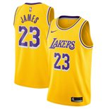 Men's Los Angeles Lakers LeBron James Nike Gold Icon Edition Swingman Jersey