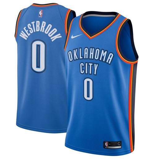 Men's Oklahoma City Thunder Russell Westbrook Nike Blue Icon Edition Swingman Jersey