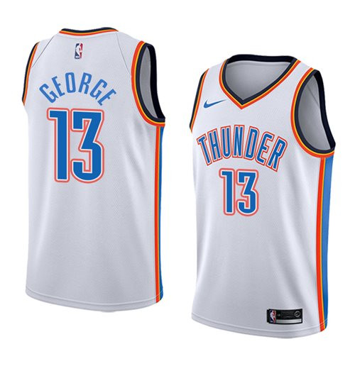 Men's Oklahoma City Thunder Paul George Nike White Association Edition Swingman Jersey