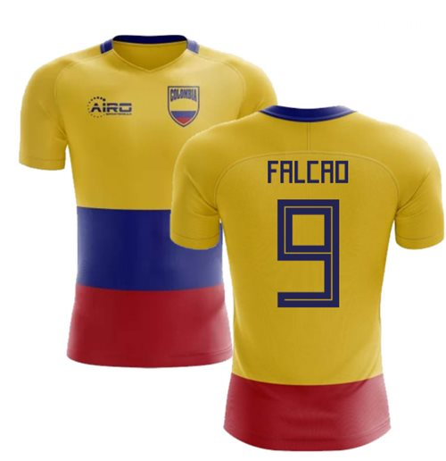 2018-2019 Colombia Flag Concept Football Shirt (Falcao 9)