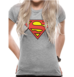 Superman - Logo - Women Fitted T-shirt Grey